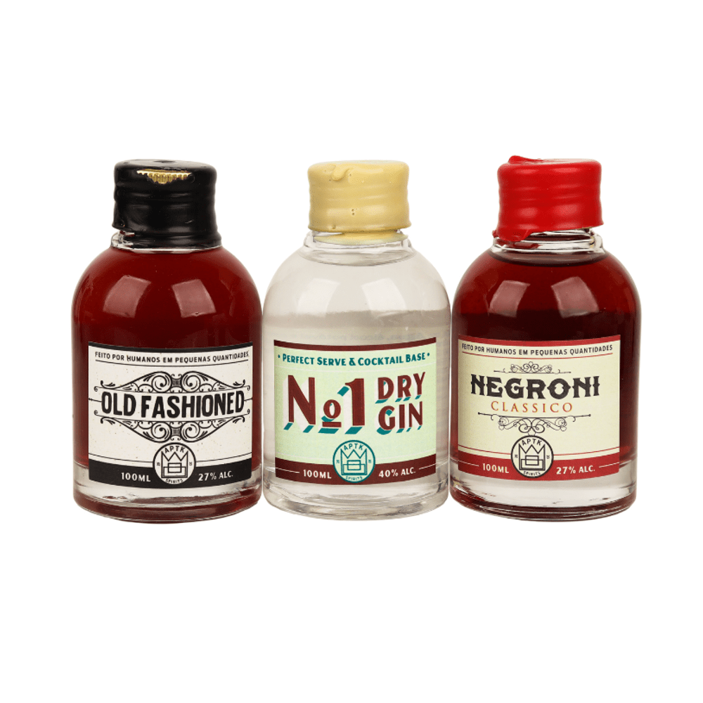Trio de Mini Drinks: Dry Gin+ Negroni Clássico+ Whiskey Old Fashioned